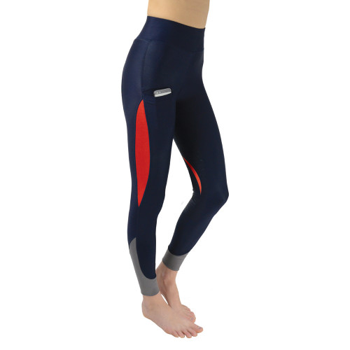 Hy Sport Active Silicone Riding Skins - Navy/Rosette Red - X Small