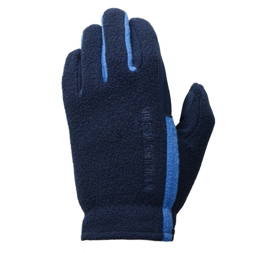 Hy5 Equestrian Children's Fleece Riding Gloves in Navy/Brilliant Blue in Child small