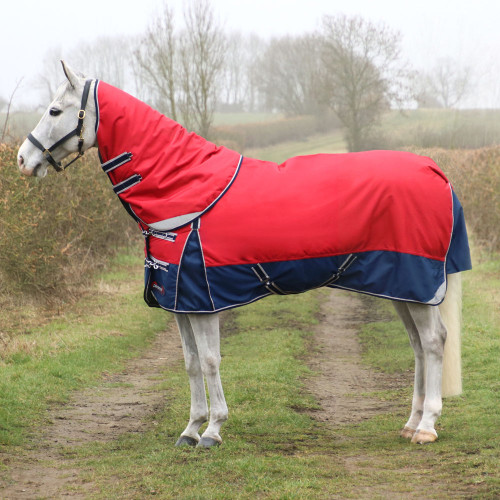 """DefenceX System 200 Turnout Rug with Detachable Neck Cover – Dark Red/Navy/Light Grey - 5'6"""""""