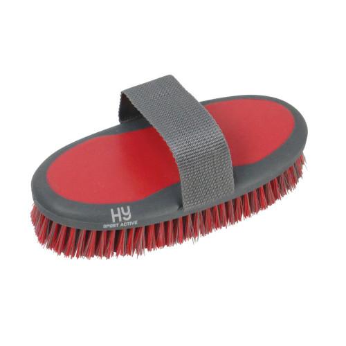 Hy Sport Active Groom Sponge Brush - Rosette Red - 20 x 9.5cm