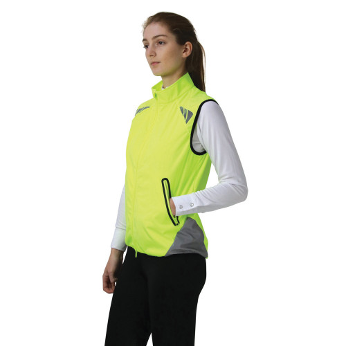 Reflector Gilet by Hy Equestrian - Pass Wide and Slow - Yellow - X Small