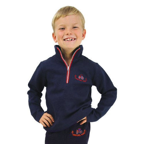 Hy Equestrian Tractors Rock Sweatshirt - Navy/Red - 3-4 Years