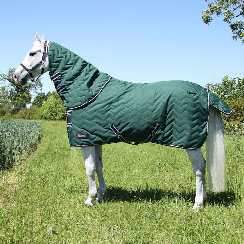 """DefenceX System 100 Stable Rug with Detachable Neck Cover - Green/Navy/Light Grey - 5'6"""""""
