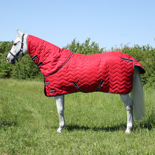 """DefenceX System 200 Stable Rug with Detachable Neck Cover - Dark Red/Navy/Light Grey - 5'6"""""""