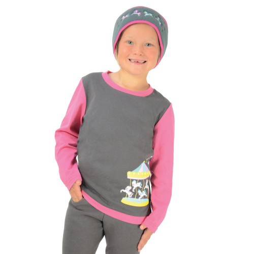 Merry Go Round Long Sleeve T-Shirt by Little Rider - Grey/Pink - 3-4 years