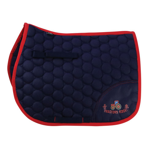 Hy Equestrian Tractors Rock Saddle Pad - Navy/Red - Small Pony