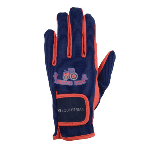 Hy Equestrian Tractors Rock Gloves - Navy/Red - Child Small