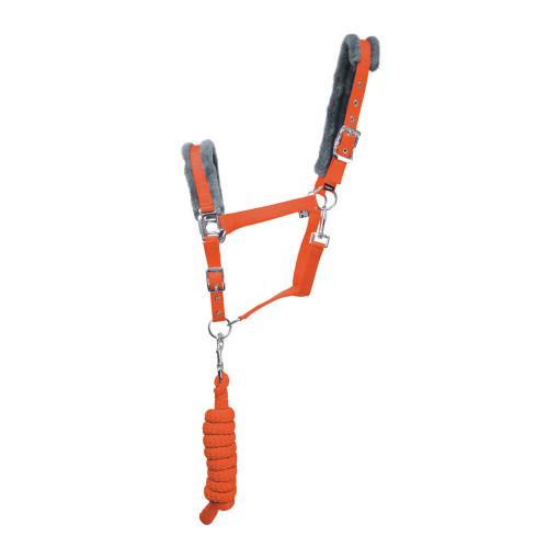 Hy Sport Active Head Collar & Lead Rope - Terracotta Orange/Grey - Pony