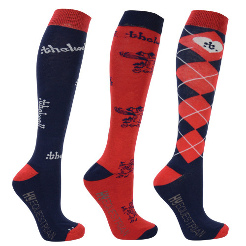 Hy Equestrian Thelwell Collection Socks (Pack of 3) -Navy/Red-Childs 8-12