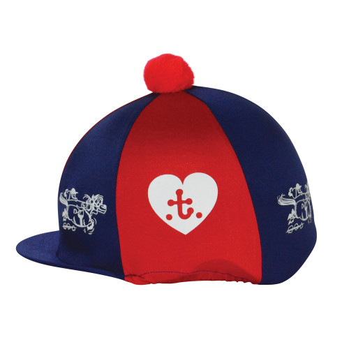 Hy Equestrian Thelwell Collection Hat Cover -Navy/Red-One Size