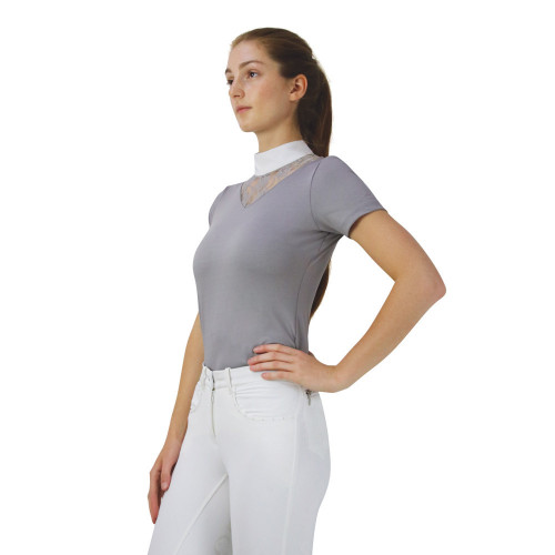 Hy Equestrian Lucie Lace Show Shirt -Grey-X Small