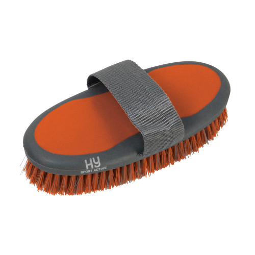 Hy Sport Active Groom Body Brush - Terracotta Orange - 20 x 9.5cm