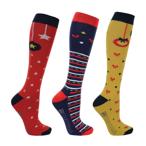 Hy Equestrian - Christmas Decorations Socks (Pack of 3) - Adult 4-8
