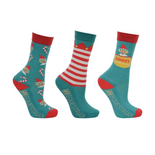 Hy Equestrian Children's Elf Socks (Pack of 3) -Multi Coloured-Child 8-12