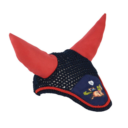 Hy Equestrian Thelwell Collection Fly Veil-Navy/Red-Shetland