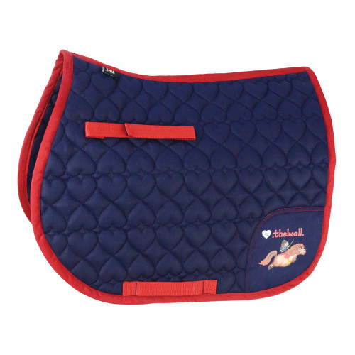 Hy Equestrian Thelwell Collection Saddle Pad -Navy/Red-Shetland