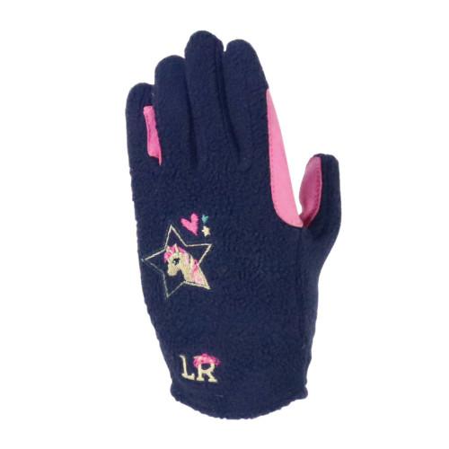 I Love My Pony Collection Fleece Gloves by Little Rider - Navy/Pink - Child Medium