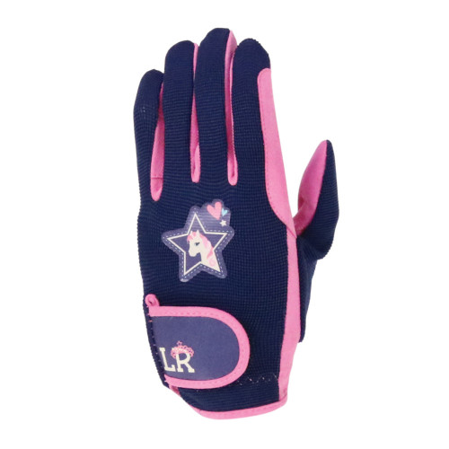 I Love My Pony Collection Gloves by Little Rider - Navy/Pink - Child Small