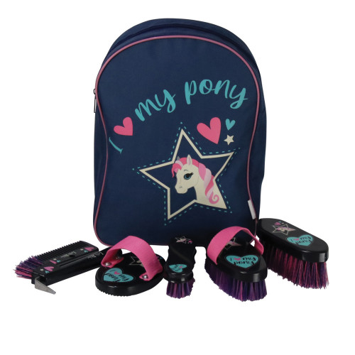 I Love My Pony Collection Complete Grooming Kit Rucksack by Little Rider - Navy/Pink -
