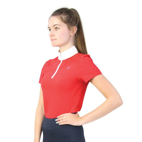 Hy Equestrian Scarlet Show Shirt - Red/White - 7-8 Years
