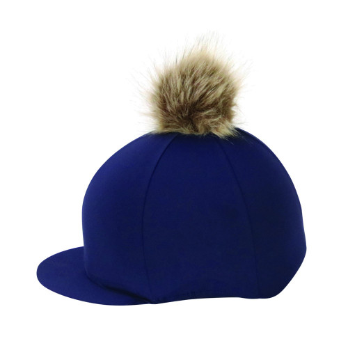 Hy Equestrian Hat Cover with Faux Fur Pom Pom - Navy