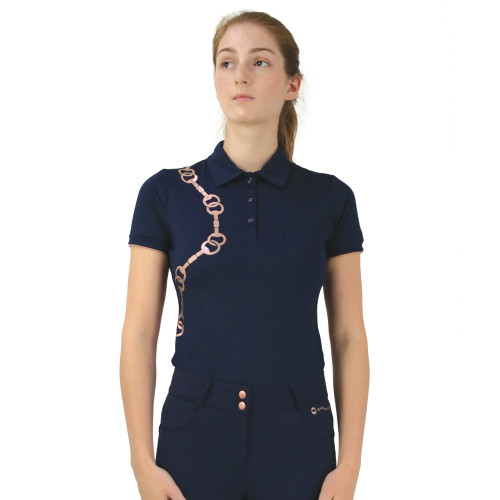 Hy Equestrian Exquisite Bit and Stirrup Collection Polo -Navy -X Small