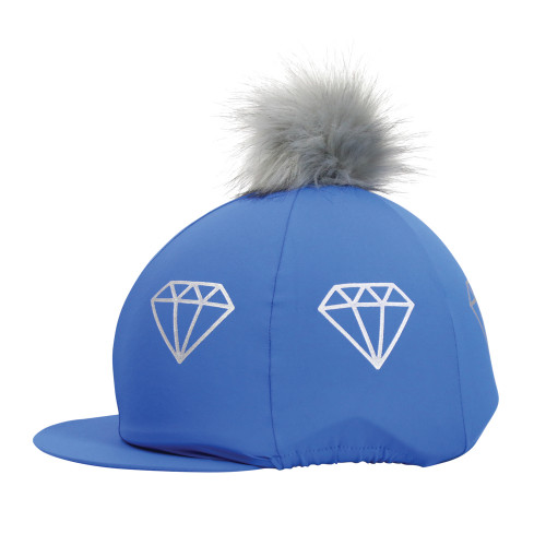 Hy Equestrian Diamonds Hat Cover - Electric Blue/Grey