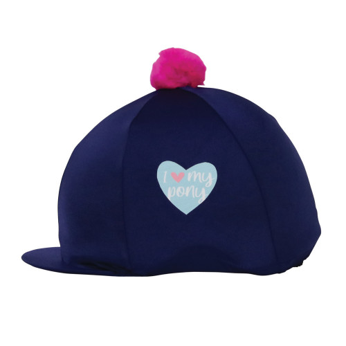 I Love My Pony Collection Hat Cover by Little Rider - Navy/Pink -  One Size