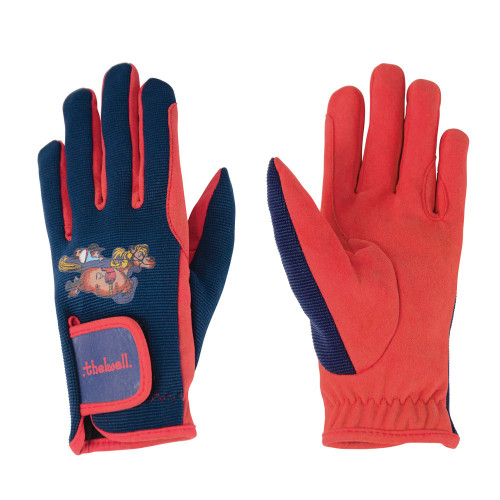 Hy Equestrian Thelwell Collection Gloves-Navy/Red-Child X Small