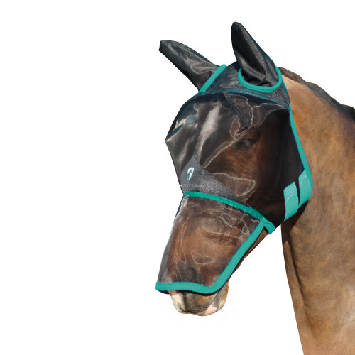 Hy Equestrian Mesh Full Mask with Ears and Nose-Black/Green-Small Pony