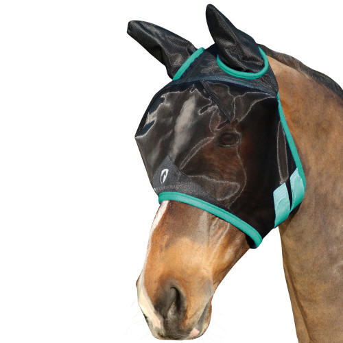 Hy Equestrian Mesh Half Mask with Ears -Black/Green-Small Pony