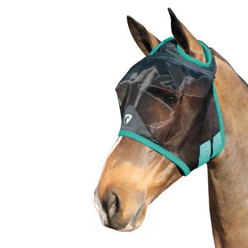 Hy Equestrian Mesh Half Mask without Ears -Black/Green-Small Pony