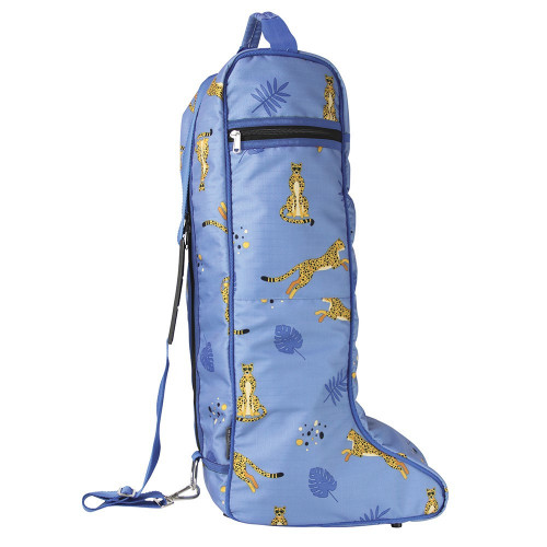 Hy Equestrian Chico the Cheetah Boot Bag - Powder Blue/Gold/Classic Blue - One Size