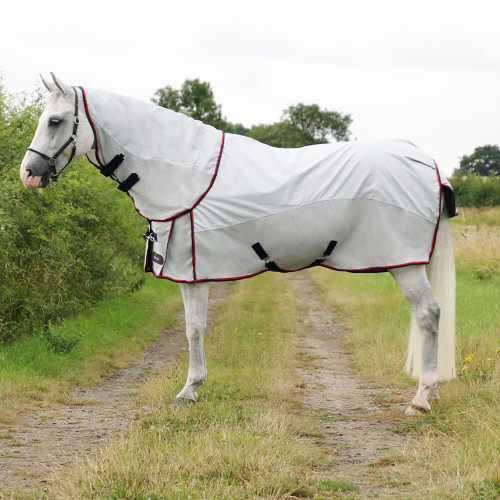 """DefenceX System Airflow Detachable Fly Rug - Silver/Navy/Red - 5'6"""""""