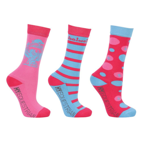 Hy Equestrian Thelwell Collection Children's All Rounder Socks (Pack of 3) - Multi Coloured - Childs 8-12