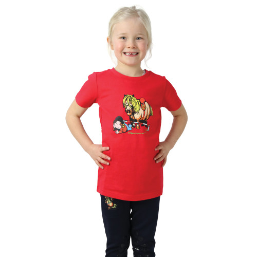 Hy Equestrian Thelwell Collection Children's Badge T-Shirt - Red - 3-4 Years