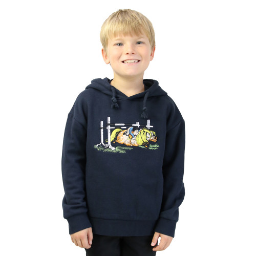 Hy Equestrian Thelwell Collection Children's Badge Hoodie - Navy - 3-4 Years