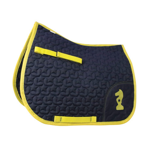 Lancelot Saddle Pad by Little Knight - Navy/Yellow - Small Pony