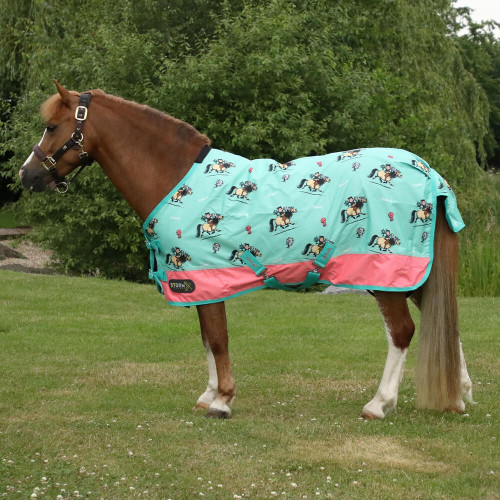 """StormX Original 0 Turnout Rug - Thelwell Collection Trophy - Mint/Pink/Teal - 3'0"""""""