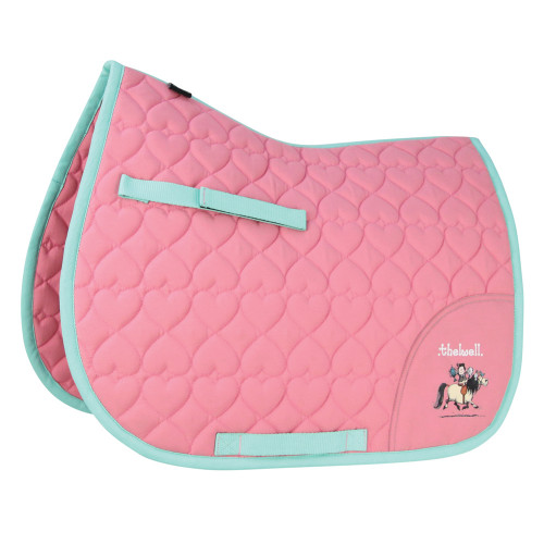 Hy Equestrian Thelwell Collection Trophy Saddle Pad - Mint/Pink - Shetland