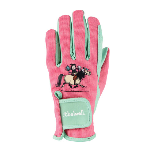 Hy Equestrian Thelwell Collection Trophy Gloves - Mint/Pink - Child X Small