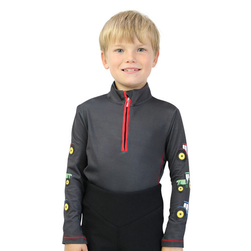 Tractor Collection Base Layer by Little Knight - Charcoal Grey/Red - 3-4 Years