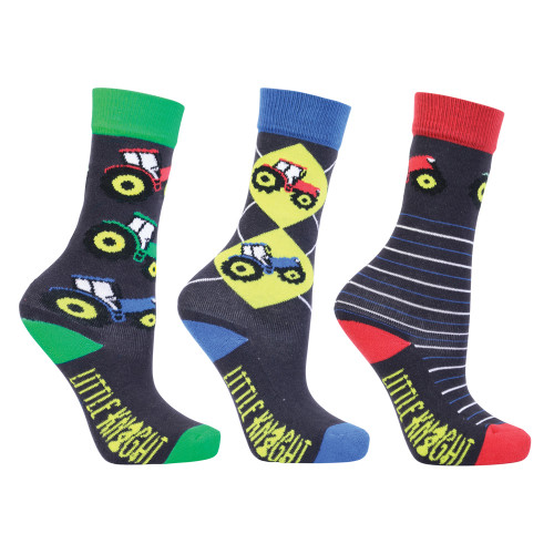 Tractor Collection Socks by Little Knight (Pack of 3) - Charcoal Grey/Red - Child 8-12