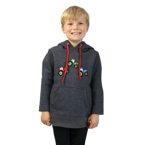 Tractor Collection Hoodie by Little Knight - Charcoal Grey/Red - 3-4 Years