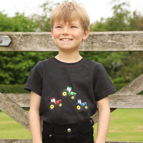 Tractor Collection T-Shirt by Little Knight - Charcoal Grey/Red - 3-4 Years