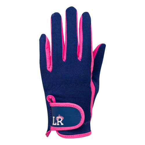 Stacy Children's Riding Gloves by Little Rider - Navy/Pink - Child Small