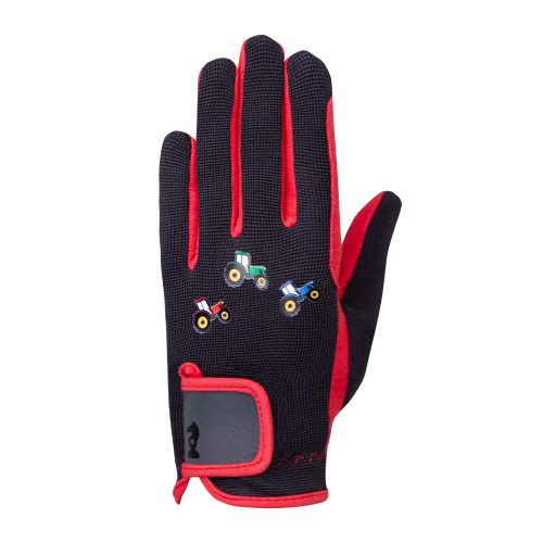 Tractor Collection Gloves by Little Knight - Grey/Red - Child Small