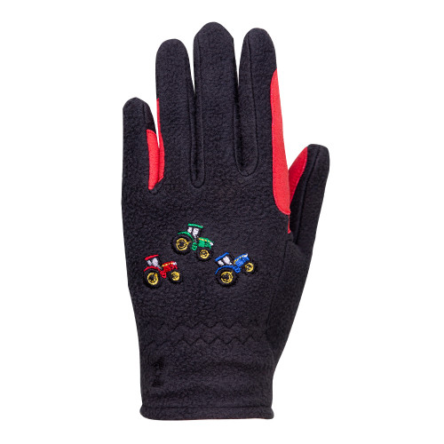Tractor Collection Fleece Gloves by Little Knight - Grey/Red - Child Small