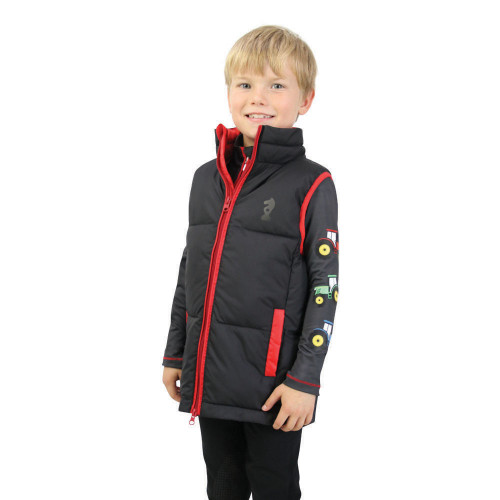 Tractor Collection Padded Gilet by Little Knight - Grey/Red - 3-4 Years