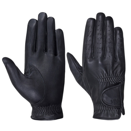 Hy5 Leather Riding Gloves in Black in extra small